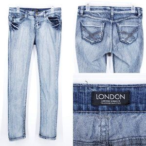 LONDON Skinny Jeans Low Rise Light Wash Stretch